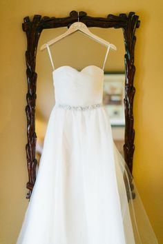 Strapless sweetheart neck wedding dress with jewel belt detail