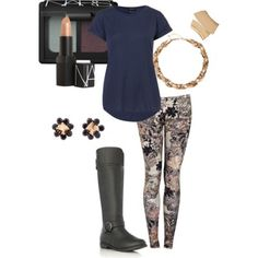 Must have winter/fall outfit   colorful jean and navy blue tee w/ black knee high flat boots