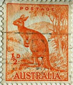 Australian Postage Stamp of kangaroo, value halfpenny Australia Kangaroo, Vintage Stamps, Rare Stamps, Going Postal, Stamp Collecting, Mail Art, Travel Posters, Vanuatu, History