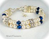 Vintage Style, Bridal Pearl Bracelet, Swarovski Sapphire Blue Crystals, Rhinestones, Double Strand, Bridesmaids, Peacock Wedding Jewelry