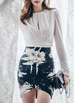 Round Neck Top and Asymmetric Hem Skirt on sale only US$31.11 now, buy cheap Round Neck Top and Asymmetric Hem Skirt at lulugal.com