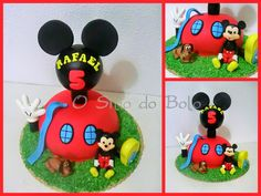 Mickey Mouse clubhouse cake / Casa do Mickey, toda em salame de chocolate decora...