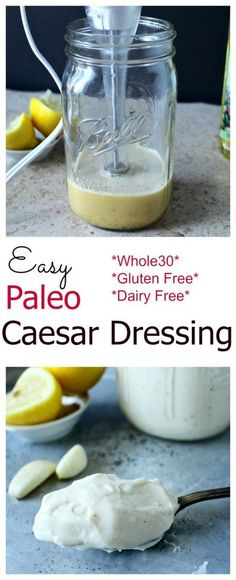 Dressing Easy Paleo Caesar Dressing- thick, creamy and the best caesar dressing you'll ever have! Made in under 5 minutes!Easy Paleo Caesar Dressing- thick, creamy and the best caesar dressing you'll ever have! Paleo Whole 30, Real Food Recipes, Whole Food Recipes, Cooking Recipes, Diet Recipes, Comidas Paleo, Dieta Paleo, Paleo Dressing, Gluten Free Salad Dressing