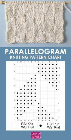 The Parallelogram Stitch Pattern creates a modern texture of interconnecting diagonal angles. - Knitting Chart Patterns - The Parallelogram Stitch Pattern creates a modern texture of interconnecting diagonal angles. Knitting Charts, Loom Knitting, Knitting Stitches, Free Knitting, Knitting Machine, Vintage Knitting, Knitting Stitch Patterns, Sweater Knitting Patterns, Easy Knitting Projects