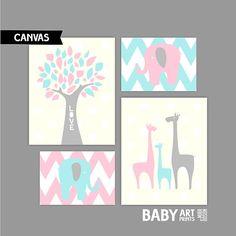 Moderne meisje kwekerij canvas kunst wordt door babyartprints