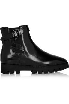 Karl Lagerfeld Ankle Boots aus Glanzleder | NET-A-PORTER