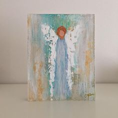 Original abstract angel in acrylic on an 8x10x2 wood panel