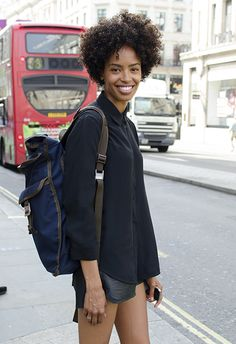 We love this simple,monochromatic look….a basic silk button-up paired with leather bottoms. We just got a lot of neutral tops in from Equipment, and totally plan to copy-cat this gal's style! Black Is Beautiful, Beautiful People, Beautiful Mess, Pelo Natural, Natural Curls, Pelo Afro, Natural Styles, Natural Hair Inspiration, Natural Hair Journey