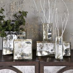 Twigs -- they're not just a wabi-sabi aesthetic. They're already dead, so you don't have to care, and they don't have to come along when you move. How to place them to kill off some negative space? Introducing the city-inspired Mercury Glass Vases. Done and done. West Elm: between $9.00 and $34.00 each.