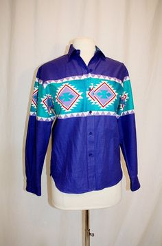 1990's Women's Purple Turquoise Roper Southwestern Shirt Top Blouse Small Vintage Retro 90's Cotton Country Western Line Dancing Cowgirl by Retromomo on Etsy