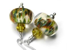 Lampwork Glass Earrings - Snowy Branch