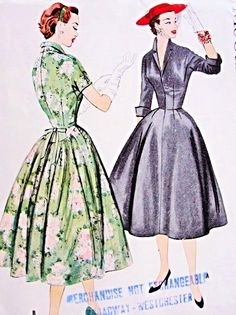 1950s Dress Pattern McCalls 9913 Lovely Fitted Bodice V Neckline Full Skirt with Back Interest Day or Cocktail Dress Bust 36 Vintage Sewing Pattern FACTORY FOLDED