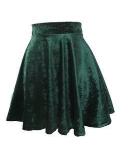 Velvet skater skirt dark green
