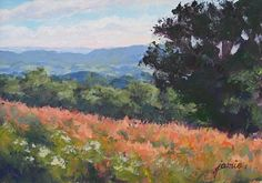 """Daily Paintworks - """"Overlooking the Fields 5×7"""" - Original Fine Art for Sale - © Jamie Williams Grossman"""