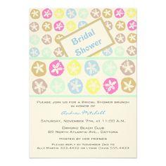 Sand Dollar Art Custom Bridal Shower Invitations