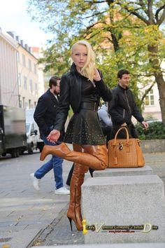 Lady Vanessa in cognac thigh boots with studded black leather skater skirt and bolero jacket High Leather Boots, High Heel Boots, Heeled Boots, Black Leather, Thigh High Boots Outfit, High Heels, Crazy Outfits, Sexy Outfits, Leather Fashion