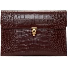 Alexander Mcqueen Burgundy Croc-Embossed Skull Clutch (€655) ❤ liked on Polyvore featuring bags, handbags, clutches, red leather handbag, burgundy handbag, red leather purse, crocodile leather handbags and red clutches