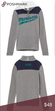 Mariners Medium 🆕The perfect everyday pullover: super comfy with a quarter-zip and cute slim fit. Features team graphics, wear it to the next game!  PRODUCT DETAILS: • Team name on front • Logo on back of neck • Imported cotton/polyester PINK Victoria's Secret Sweaters