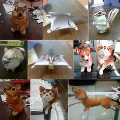 Some of my animals papercraft-- You can try to make this too,  It's very cute and easy to make! :) You can download the papercraft pattern at http://cp.c-ij.com/en/ Thanks to Canon Creative Park!   #animal #animals #animallover #pet #dog #anjing #cat #kucing #squirrel #corgi #daschund #rabbit #kelinci #papercraft #paperart #papertoy #cute #imut #creative #canon #hobby #paper #diy #easy