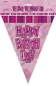 """Pink Happy Birthday Bunting Our Pink Happy Birthday Bunting may be hung indoors or outdoors across walls, ceilings and windows. The bunting features a pink holographic background which sparkles in the light with """"Happy Birthday"""" on each flag. It measures 12 feet in lenght and the flags drop down 10 inches. The bunting maybe cut down to size if required. Any birthday party is a momentous occasion and should be greeted with excitement and celebrated in style. Deciding just how to decorate for…"""