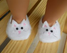 cb3799eb3489 18 inch Doll Clothes fits American Girl Kitty - Cat Slippers American Girl  Doll Shoes