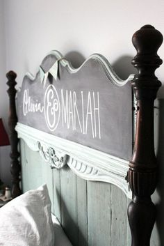 DIY Headboard how cute for a guest bedroom. With guest names on it.