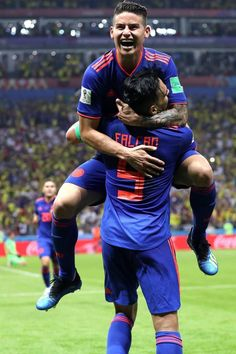 Radamel Falcao of Colombia celebrates with teammate James Rodriguez after scoring his team's second goal during the 2018 FIFA World Cup Russia group. Football Icon, Football Is Life, World Football, Football Players, James Rodriguez Colombia, Colombia Soccer, James Rodrigues, Soccer Stars, European Football
