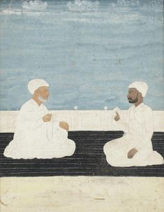 A gentleman seated before a holy man on a terrace Provincial Mughal, Century Mughal Miniature Paintings, Indian Paintings, Sufi, Indian Art, 18th Century, Paint Colors, Terrace, Gentleman, Auction