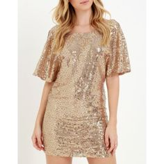 "Bronze Sequin Shift Dress Bronze sequin shift dress from Lulu's. Wide, rounded neckline and low sloping back. Lightweight fabric in dark beige is covered in shimmering gold sequins from the short sleeves down into the shift silhouette. Lined. 100% polyester. Fits true to size, length is above mid thigh. Size S measures 31"" from shoulder to hem. Great for any bust size, waist is not fitted - comfortable room thru midsection. Hips are fitted. Lulu's Dresses"