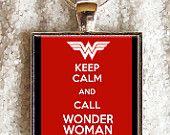 Art Photo Pendant - Resin Pendant - ((( Keep calm and call Wonder Woman ))) -via Etsy.
