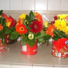Mexican themed party could use Ferber daisies. Carnations. Sunflowers