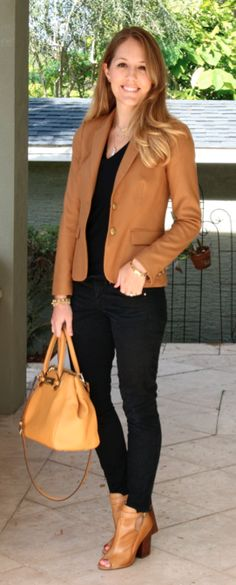 Camel blazer, black top, black jeans, camel booties- already have all the pieces.
