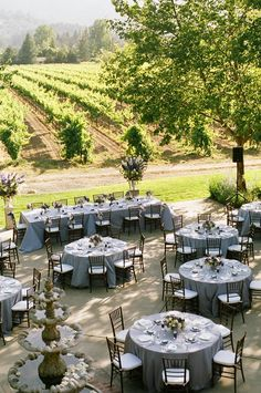 Outdoor vineyard reception tables #WeddingReception #VineyardWedding