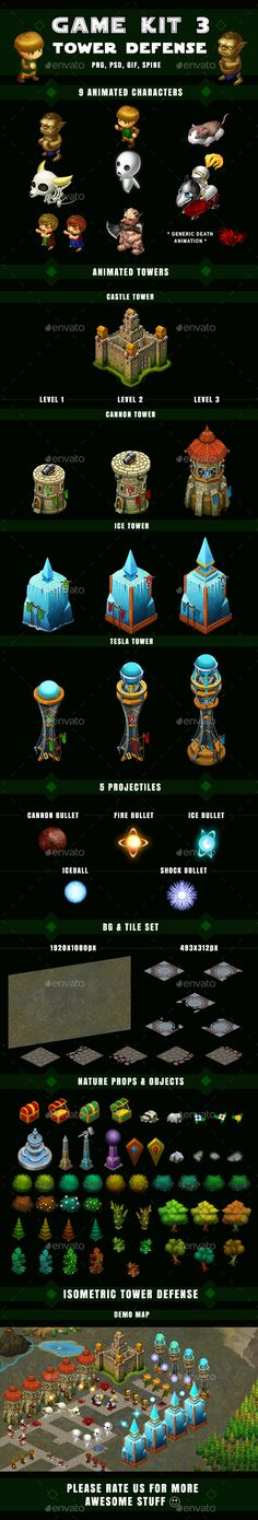 Isometric Tower Defense Game Kit 3 of 3 w character sprites & more — Photoshop PSD #sprite sheet #game runner • Available here → https://graphicriver.net/item/isometric-tower-defense-game-kit-3-of-3-w-character-sprites-more/16901853?ref=pxcr