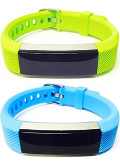 BSI Set 1 Lime Green 1 Light Blue Classic Accessory Bands For Fitbit Alta Activity Tracker Adjustable Silicone Design Straps With Metal Buckle Clasp >>> You can find more details by visiting the image link.