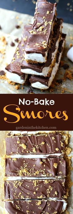 No-Bake S'mores Bars, a fun spin on the classic s'mores! | Garden in the Kitchen #smores #smoresbars #nobakesmores #nobakedessert #nobakesmoresbars Mini Desserts, No Bake Desserts, Easy Desserts, Delicious Desserts, Yummy Food, Baking Desserts, No Bake Recipes, Quick Dessert Recipes, Cake Baking