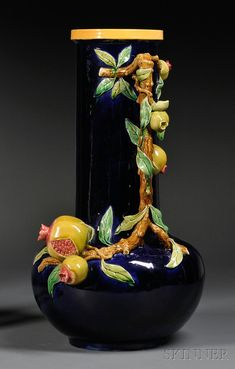 Minton Majolica Pomegranate Vase, England, date cipher for vase with elongated neck, handle modeled as a pomegranate tree branch with its leaves and fruit radiating outward onto the neck and body of the vase. Porcelain Jewelry, Fine Porcelain, Porcelain Ceramics, Ceramic Vase, Porcelain Tiles, Glazes For Pottery, Pottery Art, Decoration, Art Decor