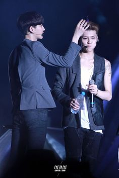 Chanyeol petting the maknae because we all know he's so damn cute! xD