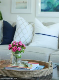 Coastal Style Blue and White Living Room Lakehouse Living Room Makeover Reveal for the One Room Challenge -13