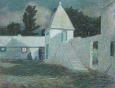 """Springfield Courtyard by Moonlight,"" Clark Greenwood Voorhees, oil on canvas, 28 x 36"", Hawthorne Fine Art."