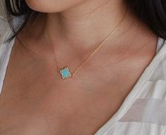Crystal Turquoise Gold Clover Necklace Quatrefoil by jennijewel, $26.00