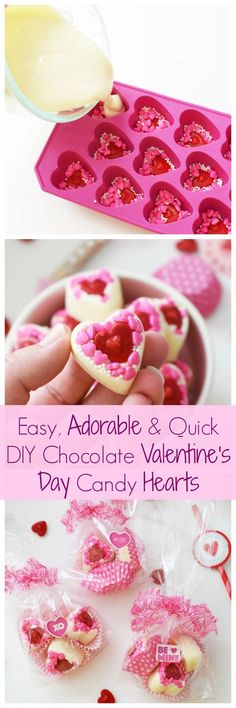 Easy, Adorable, & Quick DIY White Chocolate Valentine's Day Candy Hearts. Get the DIY for these adorable, homemade Valentine's Day treats today! via Savvy Saving Couple AD Source Valentines Day Cookies, Valentine Candy Hearts, Valentines Day Holiday, Valentines Gifts For Boyfriend, Homemade Valentines, Valentine Treats, Valentines Baking, White Chocolate Candy, Valentine Chocolate