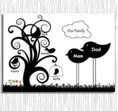 Novelty Family tree, Monochrome Family edit, Printable Family Tree, Family Scrapbook Page, Family Tree Photo Prop, Family Keepsake, Birds