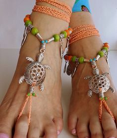 Boho barefoot sandals Hippie sandals Crochet anklet Big by FiArt