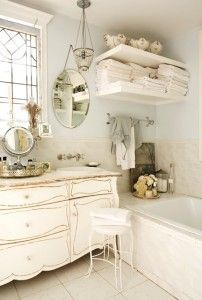 vintage white, lovely bath