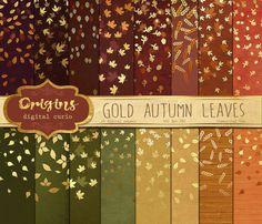 金紅葉數碼紙 - 金葉紙屑紙包裝,金箔覆蓋的紋理背景,背景虛化的數碼紙
