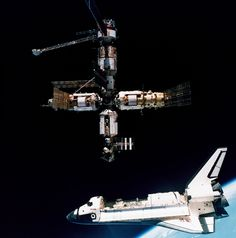 This week in 1995, space shuttle Atlantis, mission STS-71, launched from NASA's Kennedy Space Center on the first space shuttle-Mir docking. First Space Shuttle, Nasa History, Kennedy Space Center, History Images, Baby Music, Product Launch, If You, Atlantis, Plane