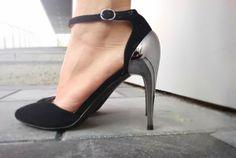 #heels #shoes #black #silver