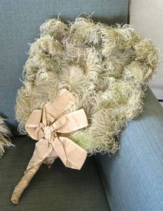 Antique Vintage Boudoir 1920s Ostrich Feather Flapper Fan w Silk Ribbon, Art Deco, Old Hollywood Treasury Item. $200.00, via Etsy.
