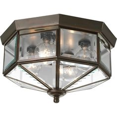 Shop Progress Lighting Beveled Glass 11.125-in W Antique Bronze Ceiling Flush Mount Light at Lowes.com